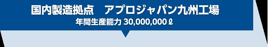 国内製造拠点 アプロジャパン九州工場年間生産能力30,000,000ℓ