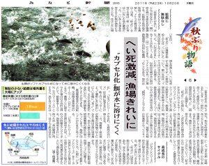 みなと新聞 20111020 秋ブリ物語⑥へい死激減、漁場きれいに「カプセル化」餌が水に溶けにくく